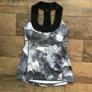 Lululemon Scoop Neck Black White Coal Tinted Tank